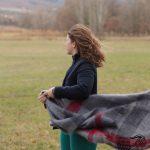 Étole mohair tissée main motif écossais